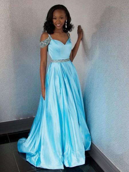 Corte en A/Princesa Escote de Corazón Sin Mangas Cola de Barrido Abalorios Satén Vestidos