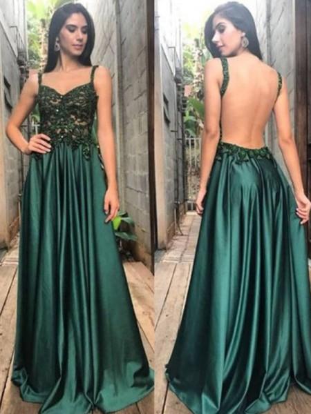 Corte en A/Princesa Tirantes Sin Mangas Hasta el Suelo Apliques Fruncido Satén Vestidos