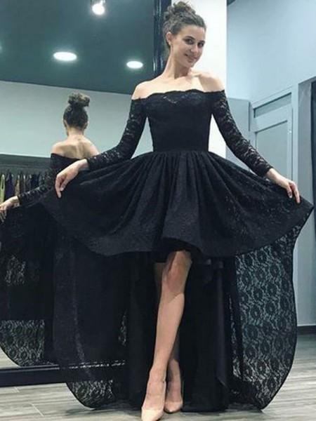 Corte en A/Princesa Hombros Caídos Manga Larga Cola de Barrido Asimétrico Encaje Vestidos