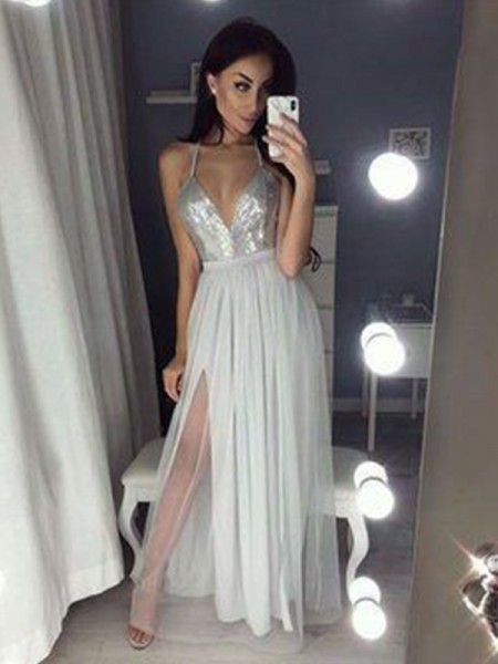 Corte en A/Princesa Tirantes Escote en V Sin Mangas Fruncido Chifón Abalorios Hasta el Suelo Vestidos