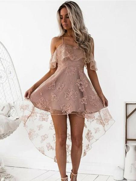 Corte en A/Princesa Hombros Caídos Encaje Satén Corto/Mini Vestidos