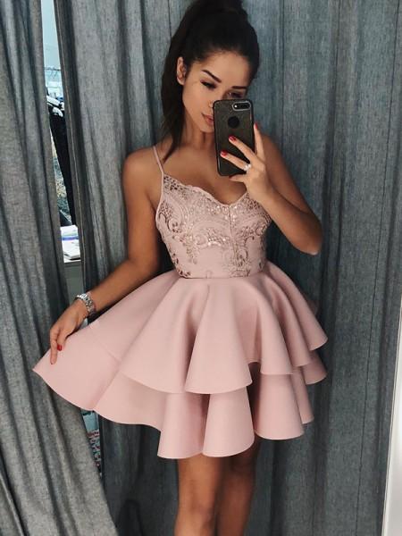 Corte en A/Princesa Tirantes Espagueti Satén Sin Mangas Corto/Mini Vestidos
