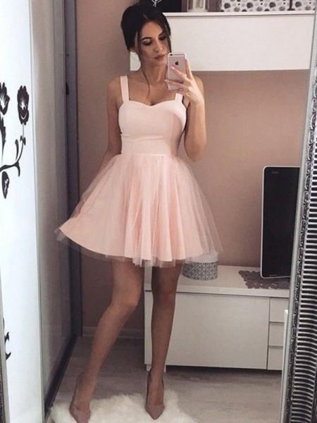 Corte en A/Princesa Satén Tirantes Sin Mangas Fruncido Corto/Mini Vestidos