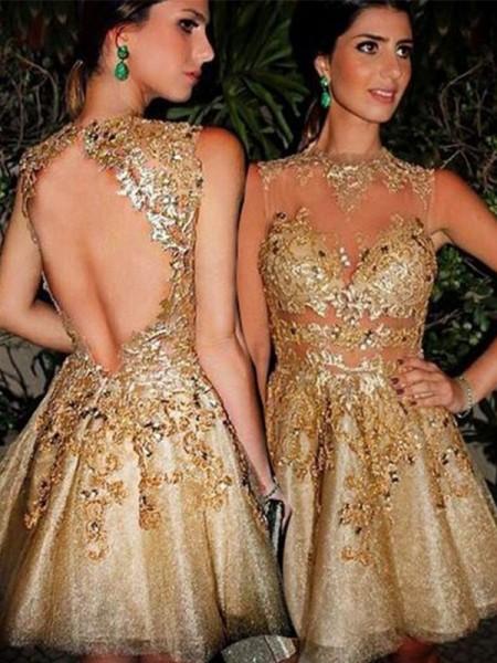 Vestidos de coctel cortos dorados