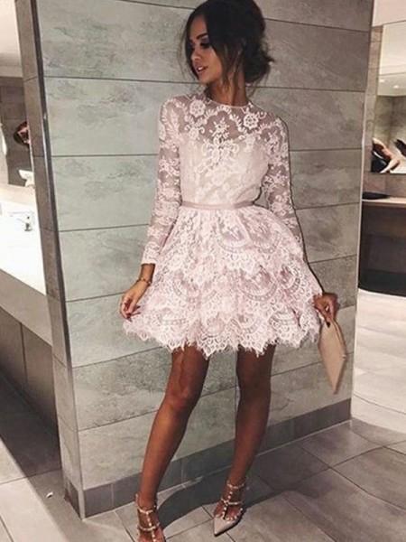 Corte en A/Princesa Escote Barco Manga Larga Abalorios Encaje Corto/Mini Vestidos