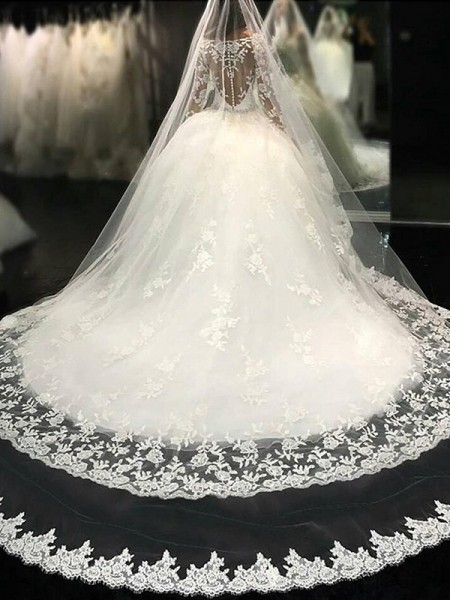 Evasé Escote en U Manga Larga Encaje Cola Catedral Apliques Tul Vestidos de Novia