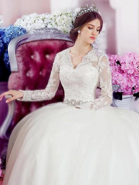 Corte en A/Princesa Manga Larga Escote en V Cola Catedral Apliques Encaje Tul Vestidos de Novia