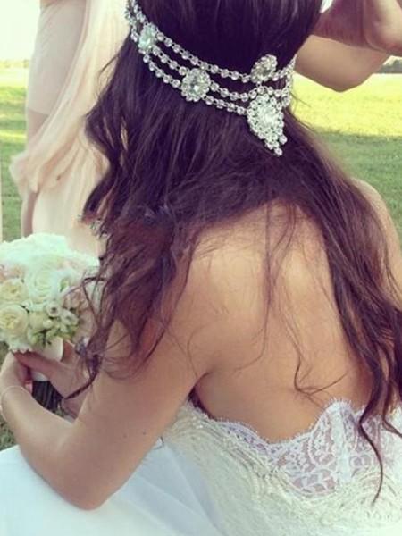 Corte en A/Princesa Escote de Corazón Sin Mangas Tul Encaje Cola de Corte Real Vestidos de Novia