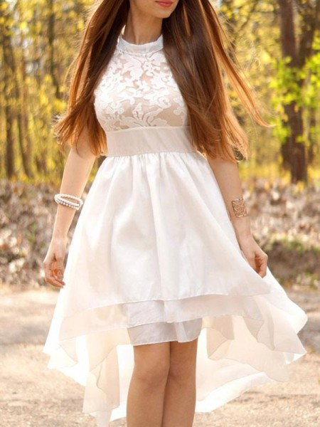 Corte en A/Princesa Chifón Fruncido Escote Halter Asimétrico Sin Mangas Vestidos de Novia