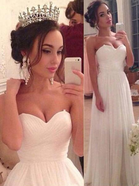 Corte en A/Princesa Escote de Corazón Sin Mangas Chifón Volantes Hasta el Suelo Vestidos de Novia