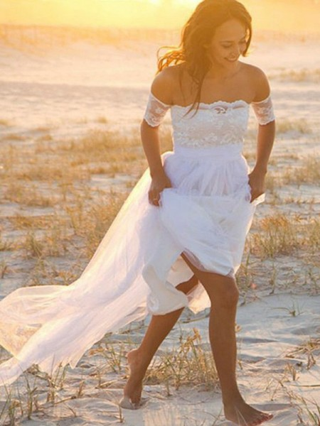 Corte en A/Princesa Chifón Sin Mangas Hombros Caídos Encaje Hasta el Suelo Vestidos de Novia