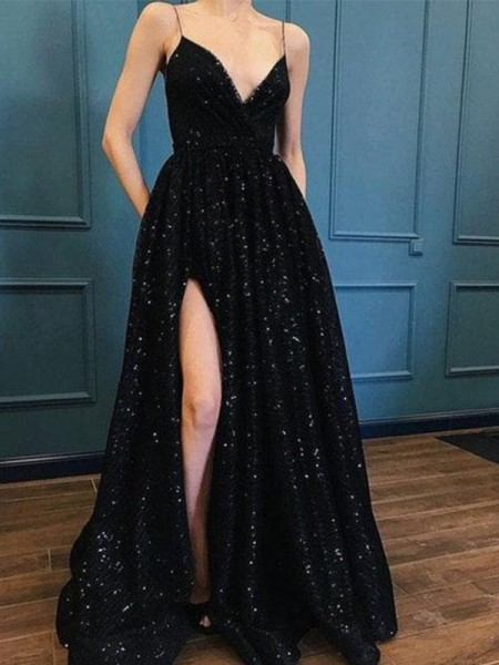 Corte en A/Princesa Tirantes Espagueti Escote en V Cola de Barrido Vestidos
