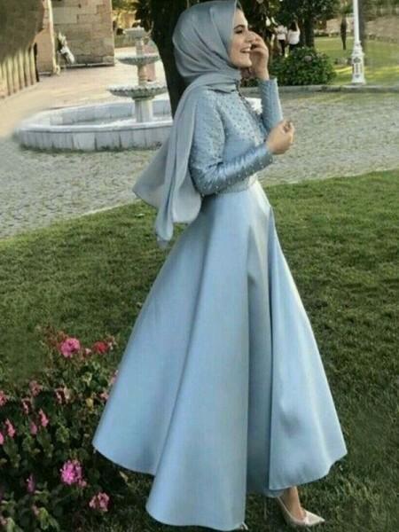 Corte en A/Princesa Manga Larga Escote en U Hasta el Suelo Abalorios Satén Muslim Vestidos