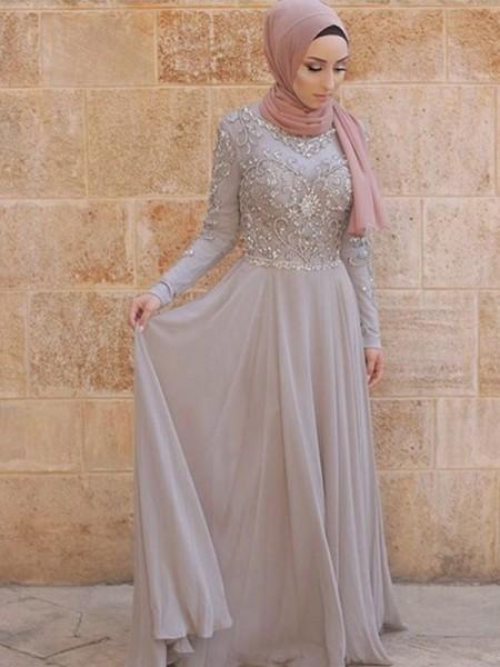Corte en A/Princesa Manga Larga Escote en U Cola de Barrido Cristales Tul Muslim Vestidos
