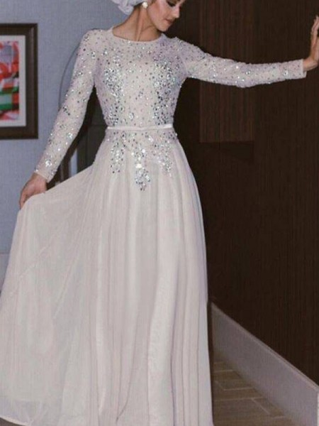 Corte en A/Princesa Manga Larga Escote en U Hasta el Suelo Cristales Chifón Muslim Vestidos