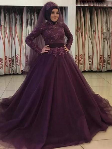 Evasé Manga Larga Escote Alto Cola de Barrido Apliques Tul Muslim Vestidos