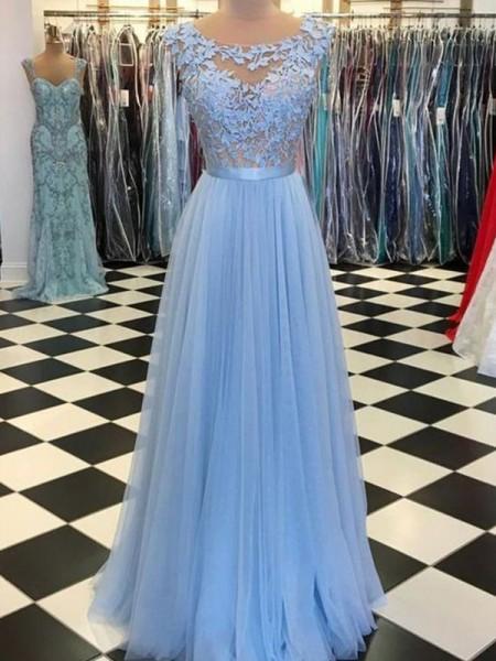 Corte en A/Princesa Escote en U Sin Mangas Hasta el Suelo Apliques Tul Vestidos