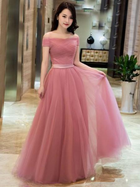 Corte en A/Princesa Tul Volantes Hombros Caídos Sin Mangas Hasta el Suelo Vestidos