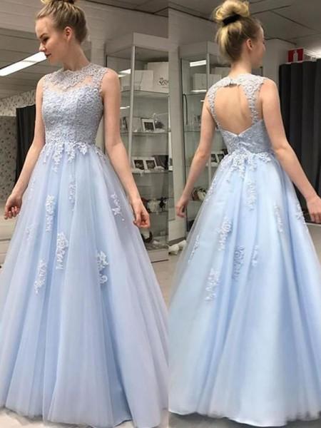 Corte en A/Princesa Sin Mangas Escote Sheer Hasta el Suelo Apliques Tul Vestidos