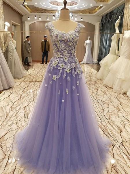 Corte en A/Princesa Sin Mangas Escote en U Hasta el Suelo Apliques Tul Vestidos