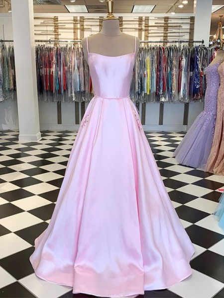 A-Line/Princess Floor-Length Spaghetti Straps Sleeveless Satin Dresses