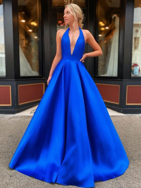 A-Line/Princess Floor-Length V-neck Sleeveless Satin Ruffles Dresses