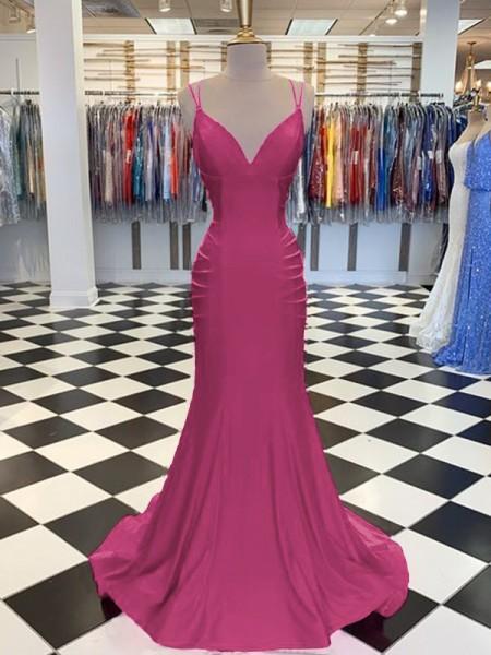 Trumpet/Mermaid Sweep/Brush Train V-neck Sleeveless Satin Ruched Dresses