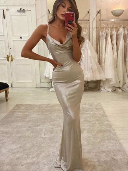 Sheath/Column Satin Straps Sleeveless Ruched Floor-Length Dresses