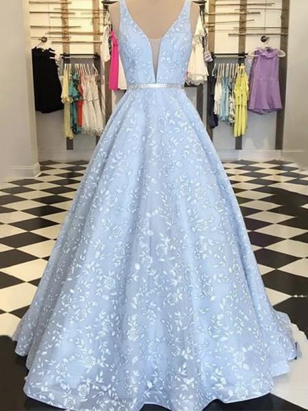 Corte en A/Princesa Sin Mangas Satén Apliques Tirantes Hasta el Suelo Vestidos
