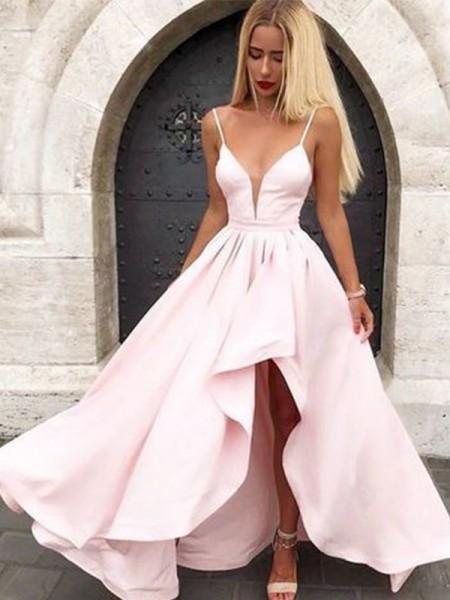 Corte en A/Princesa Sin Mangas Escote en V Volantes Satén Asimétrico Vestidos
