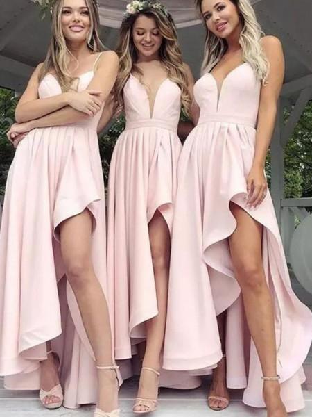 Corte En A/Princesa Satén Escote En V Sin Mangas Volantes Asimétrico Vestidos Para Damas De Honor