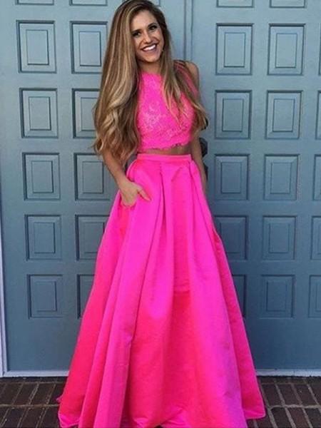 Corte en A/Princesa Escote en U Sin Mangas Hasta el Suelo Encaje Satén Dos Piezas Vestidos
