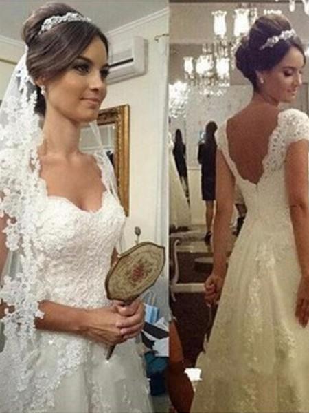 Corte en A/Princesa Escote de Corazón Hasta el Suelo Sin Mangas Encaje Tul Vestidos de Novia