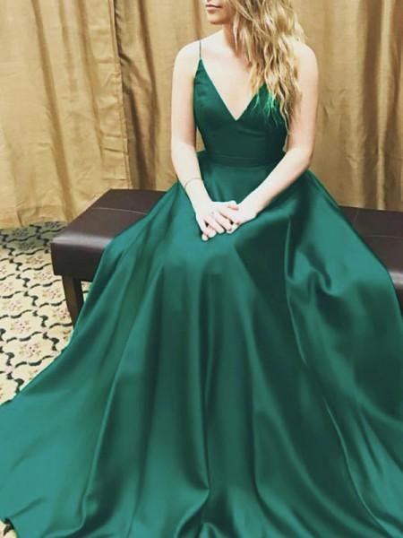 Corte en A/Princesa Sin Mangas Tirantes Espagueti Satén Hasta el Suelo Vestidos