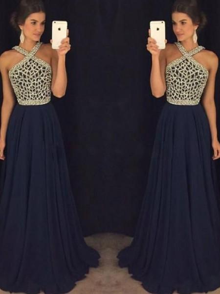 Corte en A/Princesa Sin Mangas Escote Halter Gasa Abalorios Hasta el Suelo Vestidos