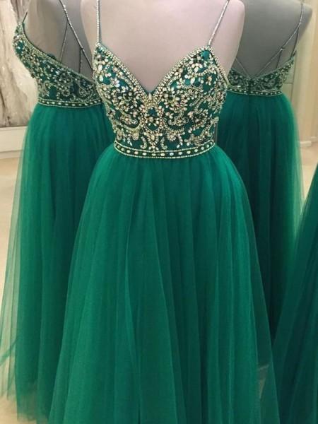 Corte en A/Princesa Sin Mangas Tirantes Espagueti Tul Hasta el Suelo Abalorios Vestidos