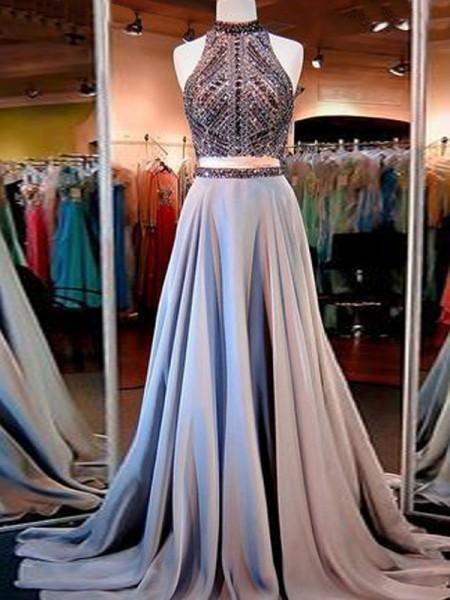 Corte en A/Princesa Sin Mangas Escote Alto Satén Abalorios Hasta el Suelo Dos Piezas Vestidos