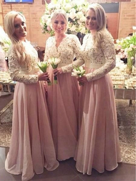 778576168 Corte en A Princesa Manga Larga Escote en V Hasta el Suelo Encaje Gasa  Vestidos