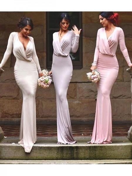 Ajustado/Tipo Columna Escote en V Hasta el Suelo Sin Mangas Punto Vestidos de dama de honor