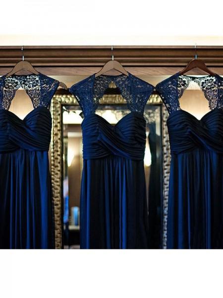 Corte en A/Princesa Sin Mangas Escote de Corazón Hasta el Suelo Encaje Gasa Vestidos de dama de honor