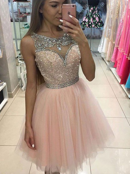 Corte en A/Princesa Sin Mangas Escote en U Abalorios Corto/Mini Tul Vestidos