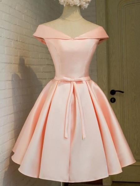 Corte en A/Princesa Escote en V Sin Mangas Fajas/Lazos/Cinturones Satén Corto/Mini Vestidos