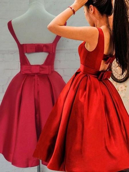 Corte en A/Princesa Sin Mangas Escote en U Fajas/Lazos/Cinturones Satén Corto/Mini Vestidos