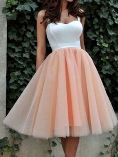 Corte en A/Princesa Sin Mangas Escote de Corazón Tul Corto/Mini Vestidos
