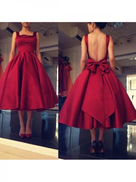 Corte en A/Princesa Sin Mangas Escote Cuadrado Lazos Satén Corto/Mini Vestidos