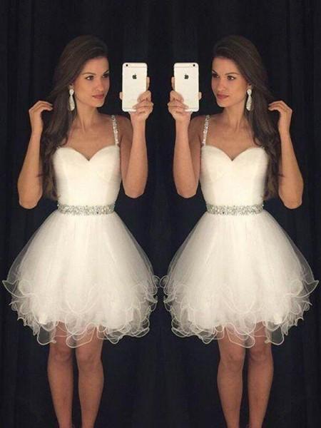 Corte en A/Princesa Sin Mangas Escote de Corazón Abalorios Tul Corto/Mini Vestidos