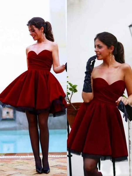 dc17a635a Corte en A Princesa Sin Mangas Escote de Corazón Satén Corto Mini Vestidos