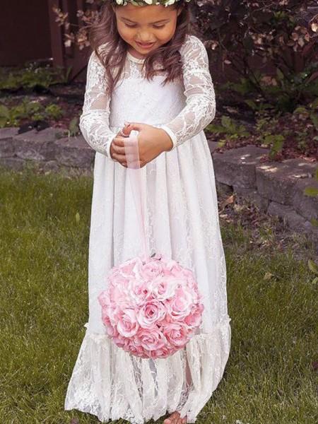 Corte en A/Princesa Manga Larga Escote Joya Lazos Encaje Hasta el Suelo Vestidos de Arras