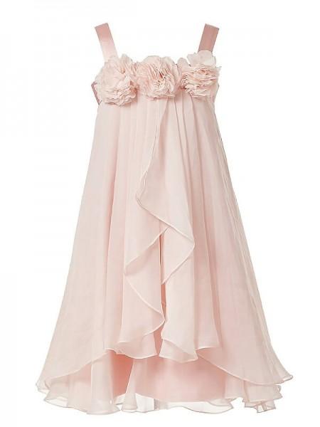 Corte en A/Princesa Sin Mangas Tirantes Flores hechas a mano Gasa Hasta el Suelo Vestidos de Arras