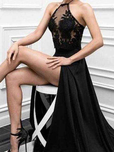Corte en A/Princesa Escote Halter Sin Mangas Hasta el Suelo Apliques Satén Elástico Vestidos